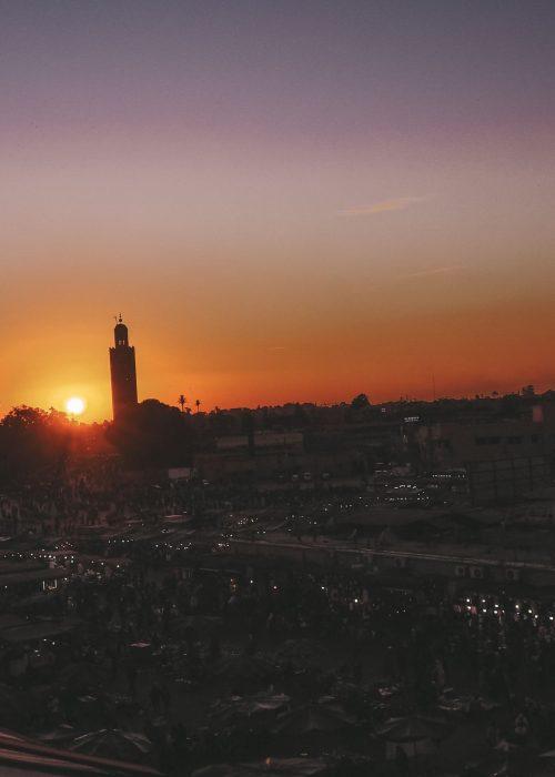 Sunset at Café de France in Marrakech
